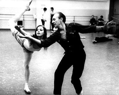 Suzanne Farrell şi Georges Balanchine la repetiţii