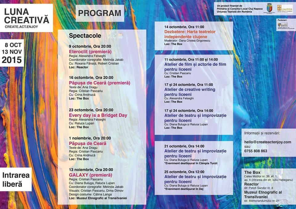 """Evenimentele """"Lunii Creative"""", 8 octombrie - 13 noiembrie"""